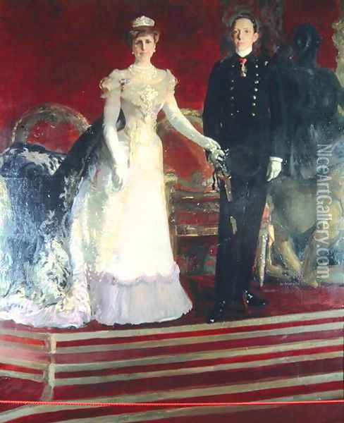 Portrait of King Alfonso XIII of Spain, and his mother, Queen Maria Christina Oil Painting - Joaquin Sorolla Y Bastida