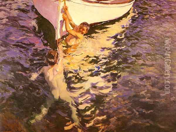 El bote blanco (The White Boat) Oil Painting - Joaquin Sorolla Y Bastida