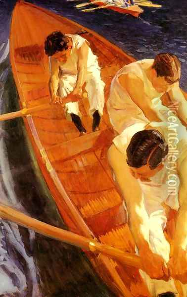 En la yola (Zarauz) (In the Rowing Boat (Zarauz)) Oil Painting - Joaquin Sorolla Y Bastida