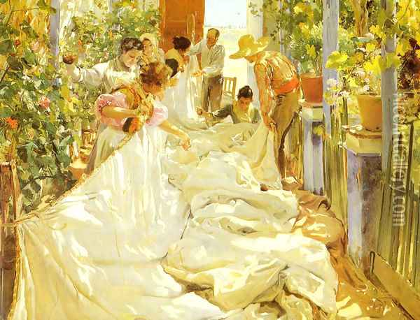 Cosiendo la vela (Sewing the Sail) Oil Painting - Joaquin Sorolla Y Bastida