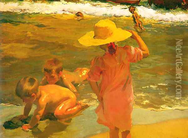 Ninos a la orilla del mar (Children on the Sea-shore) Oil Painting - Joaquin Sorolla Y Bastida