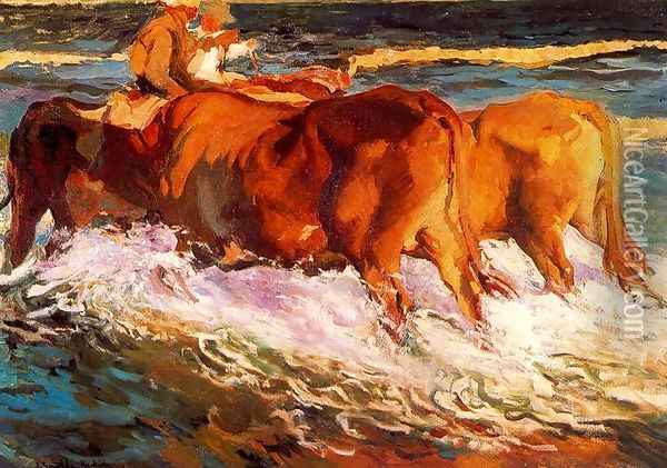 Oxen (Study for 'sun in the afternoon') Oil Painting - Joaquin Sorolla Y Bastida