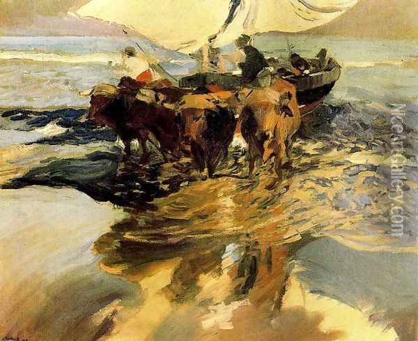 Waiting for fishing (beach Valencia) Oil Painting - Joaquin Sorolla Y Bastida