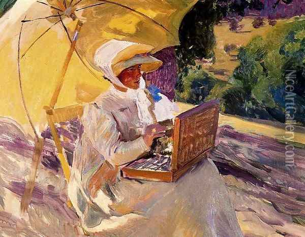 Mary painting at the Pardo Oil Painting - Joaquin Sorolla Y Bastida
