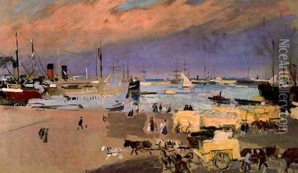 Port of Valencia Oil Painting - Joaquin Sorolla Y Bastida