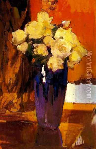 White Rose in the garden of the house Oil Painting - Joaquin Sorolla Y Bastida