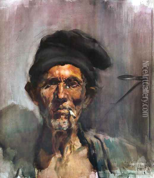 The old man of the cigarette Oil Painting - Joaquin Sorolla Y Bastida
