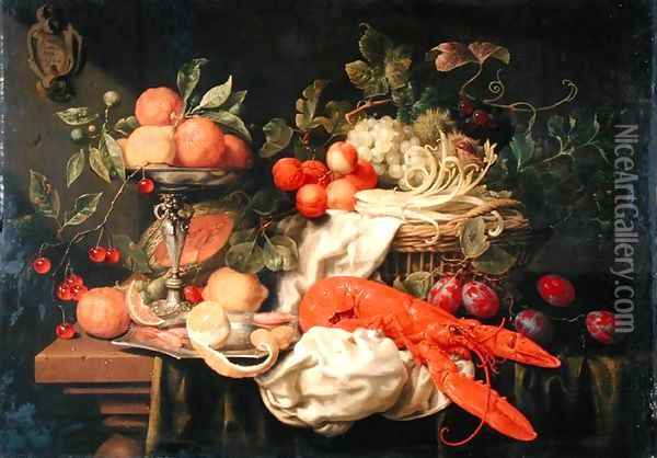 Still Life with Lobster, 1660 Oil Painting - Joris Van Son