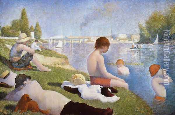 Bathing at Asnieres Oil Painting - Georges Seurat