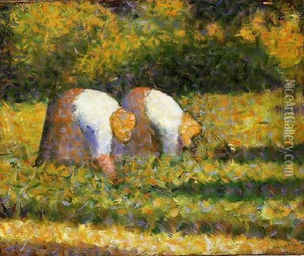 Farm Women at Work Oil Painting - Georges Seurat