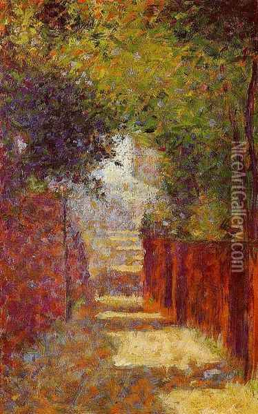 Rue Saint-Vincent, Montmartre, in Spring Oil Painting - Georges Seurat