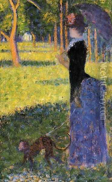 Woman with a Monkey Oil Painting - Georges Seurat