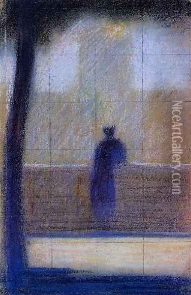 Man Leaning on a Parapet Oil Painting - Georges Seurat