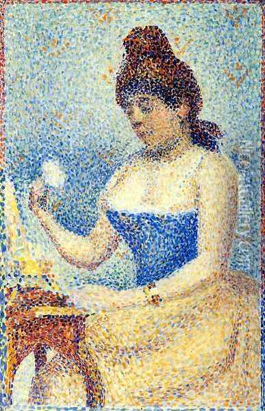 Study for 'Young Woman Powdering Herself' Oil Painting - Georges Seurat