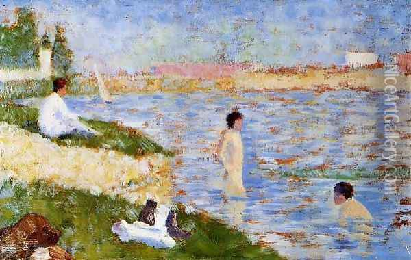 Bathers in the Water Oil Painting - Georges Seurat