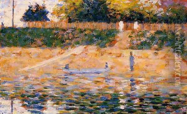 Boats near the Beach at Asnieres Oil Painting - Georges Seurat