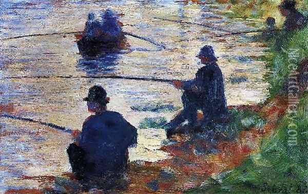 Fishermen Oil Painting - Georges Seurat
