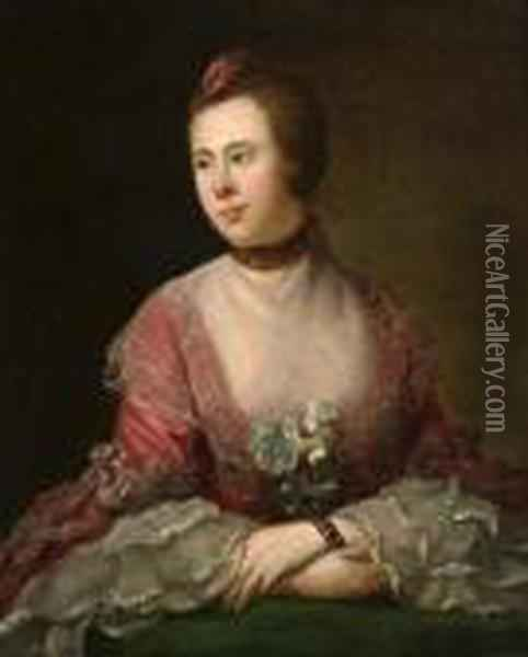 A Portrait Of A Lady Seated, Half-length, In Apink Dress With White Lace Oil Painting - Allan Ramsay