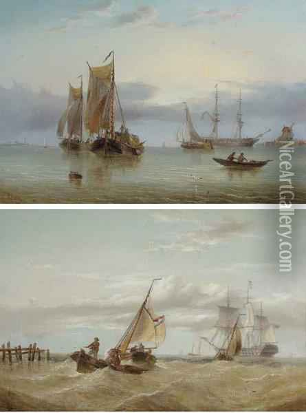 A Naval Two-decker Amidst Barges  Off The Coast; And Hay Barges Andother Shipping In The Estuary Oil Painting - Henry Redmore