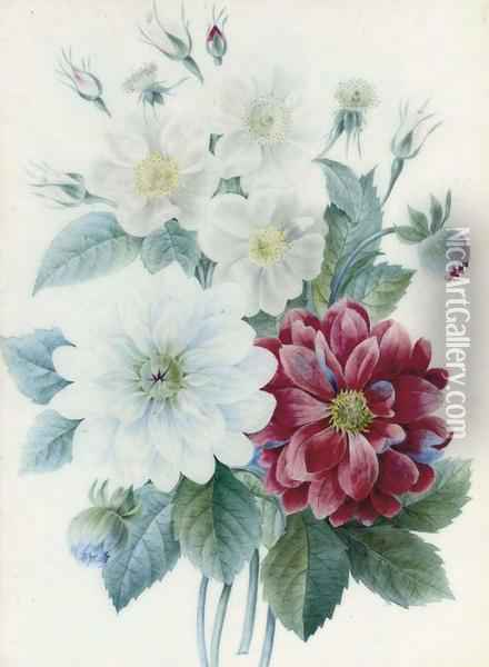 Peonies And Dog-roses Oil Painting - Pierre-Joseph Redoute