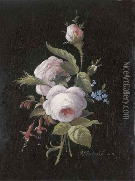 A Bouquet Of Roses, Forget-me-nots And Fuchsia Oil Painting - Pierre-Joseph Redoute