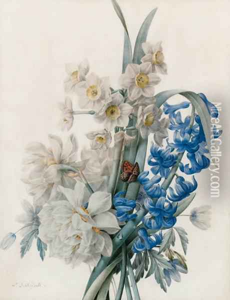 A Bunch Of Flowers Including Bluebells, Daffodils, And An Admiralbutterfly Oil Painting - Pierre-Joseph Redoute