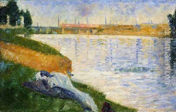 Clothing on the Grass Oil Painting - Georges Seurat