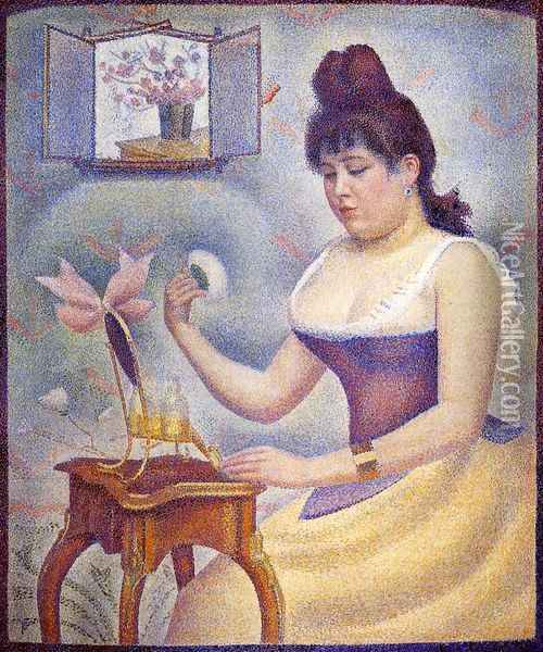 Young Woman Powdering Herself Oil Painting - Georges Seurat