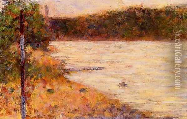 Banks of a River Oil Painting - Georges Seurat