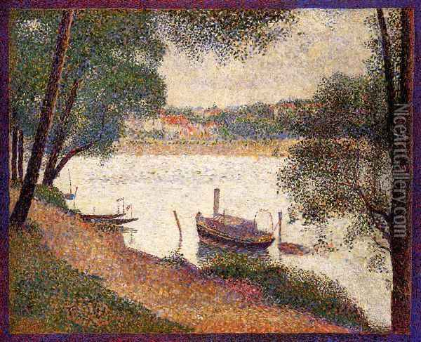 The Seine at La Grande Jatte in the Spring Oil Painting - Georges Seurat