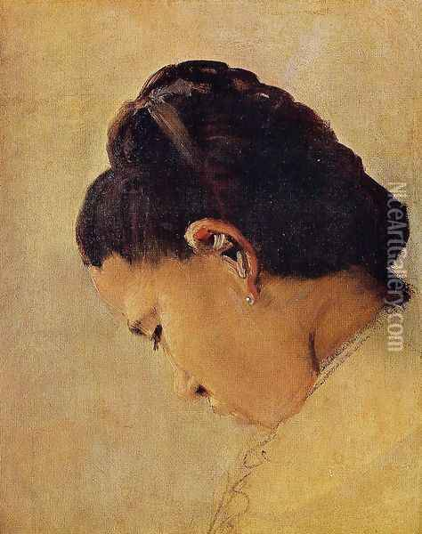 Head of a Girl Oil Painting - Georges Seurat