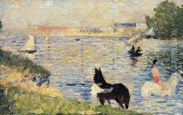 Horses in the Water Oil Painting - Georges Seurat