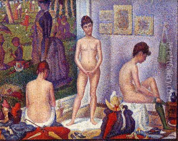 Models (small version) Oil Painting - Georges Seurat