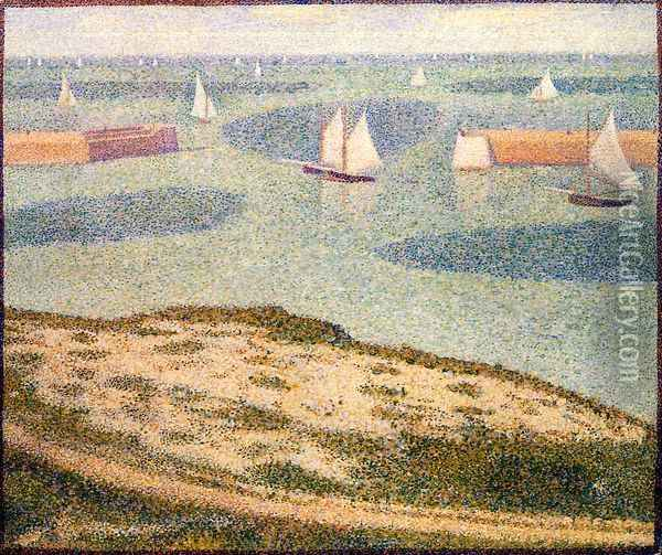 Port-en-Bessin, Entrance to the Outer Harbor Oil Painting - Georges Seurat