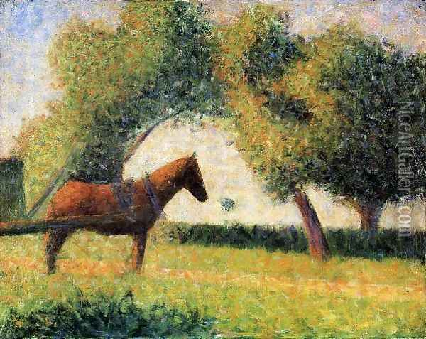 Horse and Cart Oil Painting - Georges Seurat