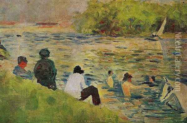 The Bank of the Seine Oil Painting - Georges Seurat