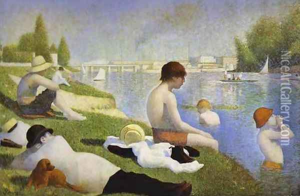 Final Study for 'Bathing at Asnieres Oil Painting - Georges Seurat
