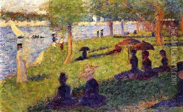 Woman Fishing and Seated Figures Oil Painting - Georges Seurat