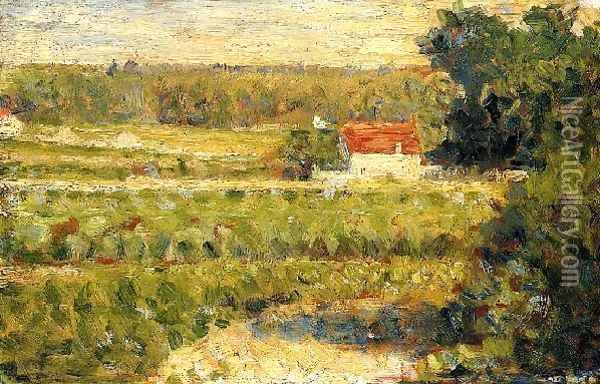 House with Red Roof Oil Painting - Georges Seurat
