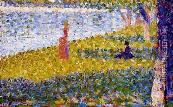 Women by the Water Oil Painting - Georges Seurat