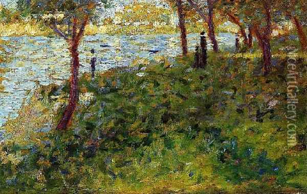 Landscape with Figures Oil Painting - Georges Seurat