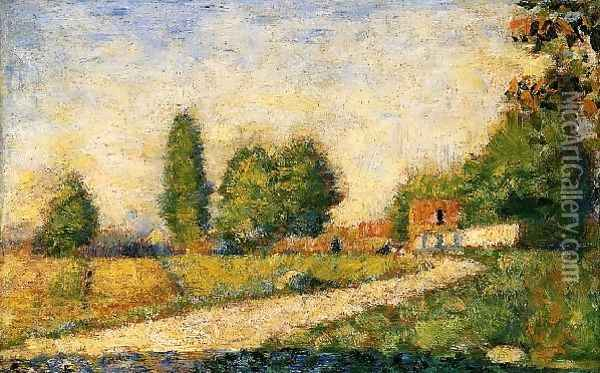 Village Road Oil Painting - Georges Seurat