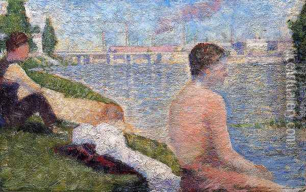 Seated Bather Oil Painting - Georges Seurat