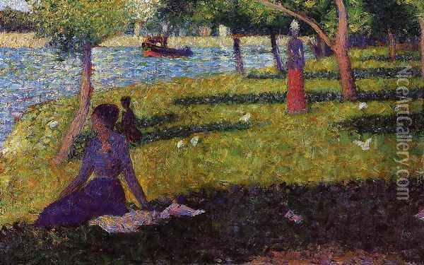 Seated and Standing Woman Oil Painting - Georges Seurat
