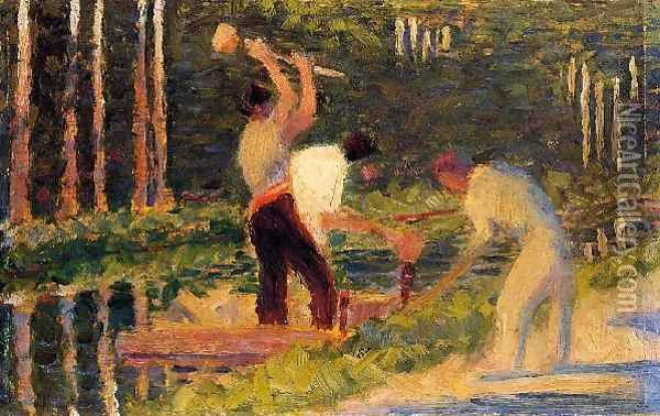 Men Laying Stakes Oil Painting - Georges Seurat