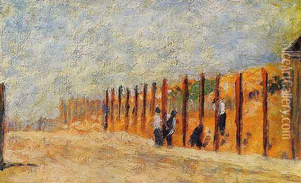 Peasants Driving Stakes Oil Painting - Georges Seurat