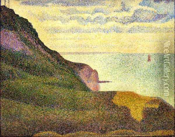 Port-en-Bessin, the Semaphore and Cliffs Oil Painting - Georges Seurat
