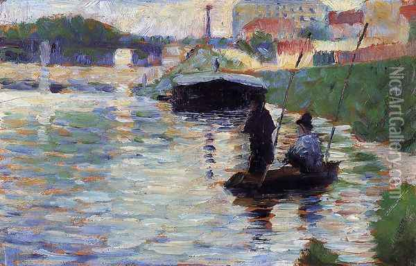 The Bridge - View of the Seine Oil Painting - Georges Seurat