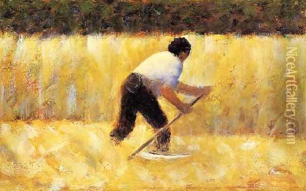 The Mower Oil Painting - Georges Seurat