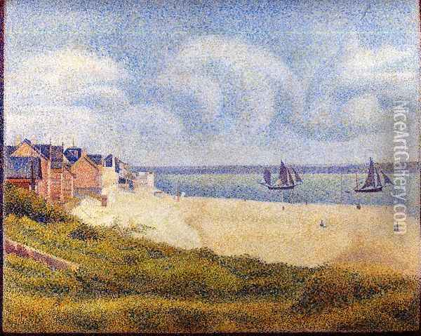 Le Crotoy, Downstream Oil Painting - Georges Seurat